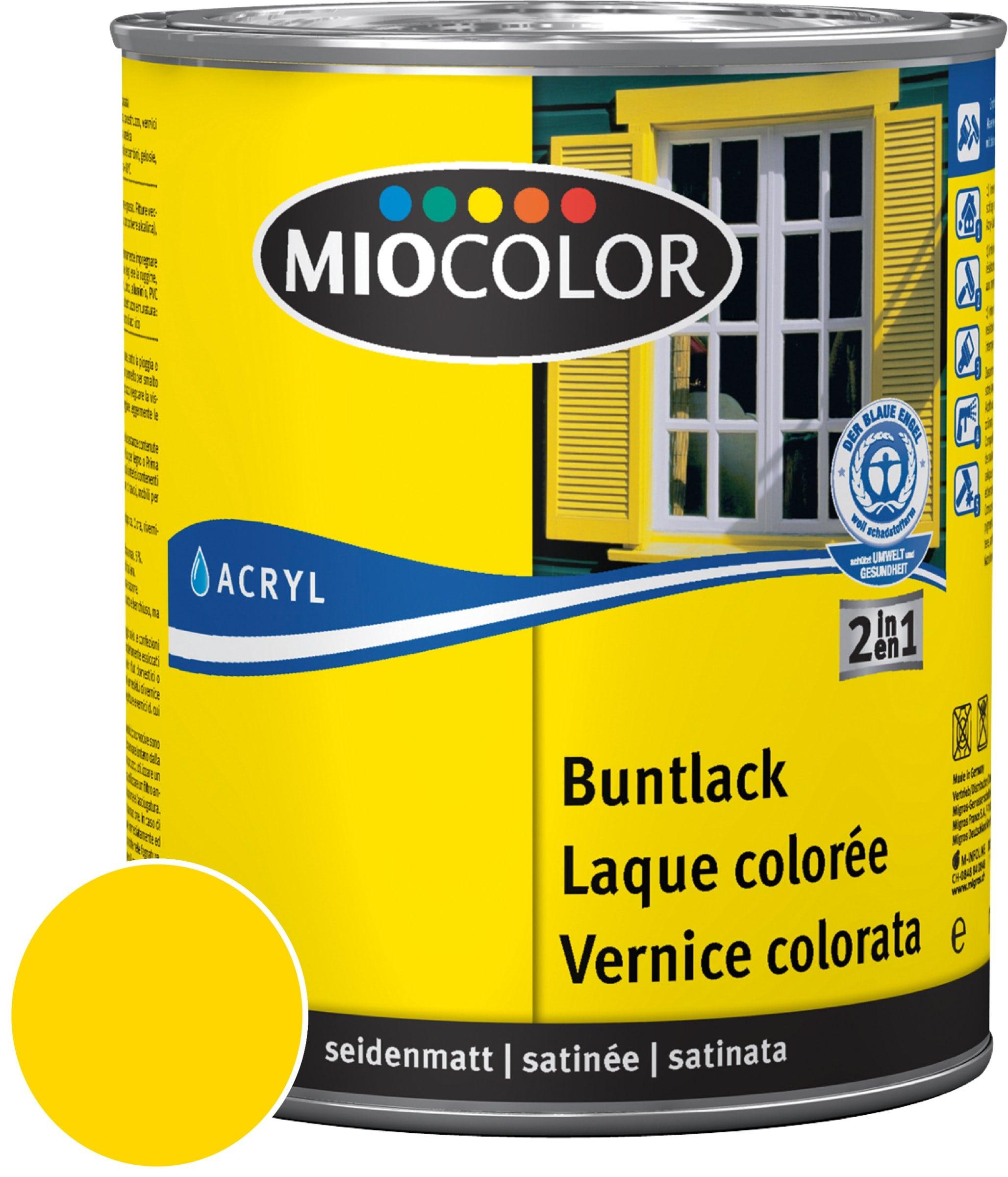 Miocolor Acryl Vernice colorata satinata Giallo navone 750 ml