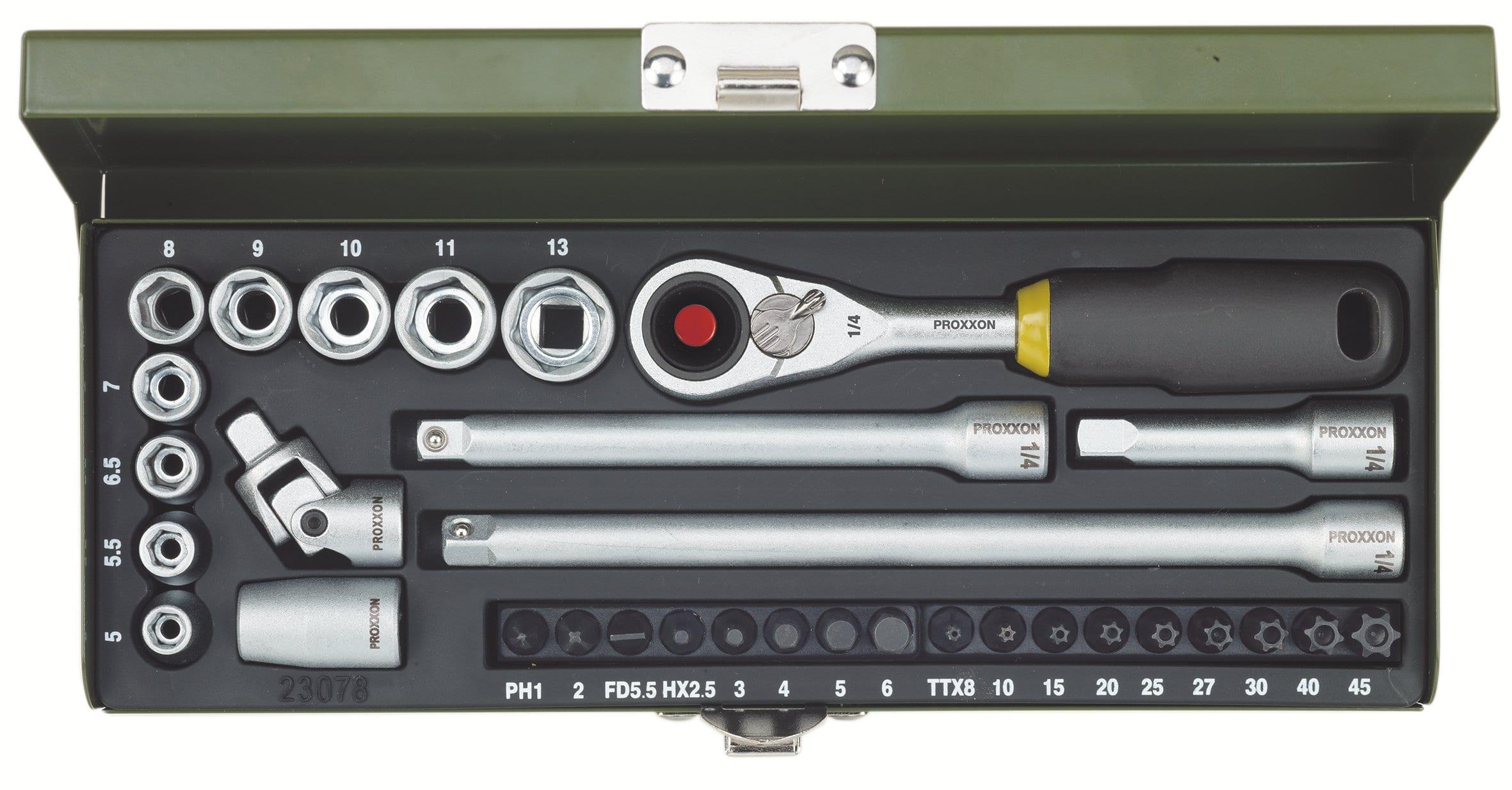 Proxxon Feinmechaniker-Steckschlüssel- und Schraubersatz 1/4, 32-tlg.