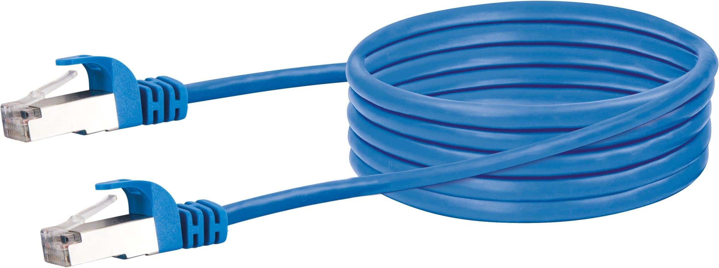 Schwaiger Cable de réseau S/FTP Cat. 6 1m bleu