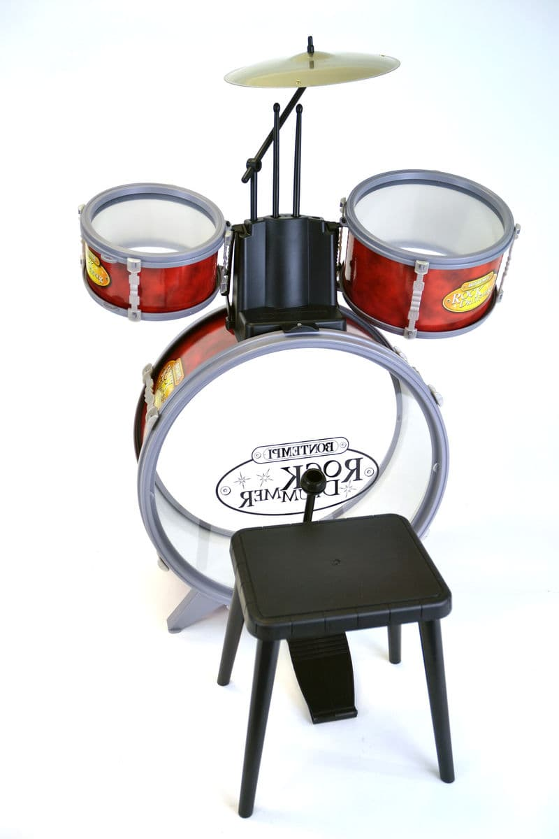 Drum Set 4 Pcs With Stool-Red Batteria