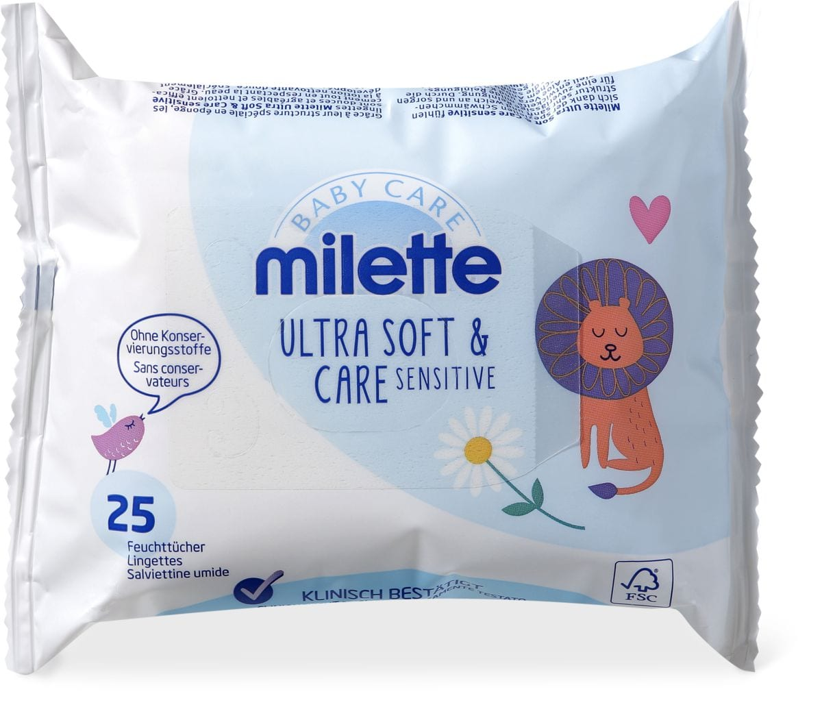 Milette Feuchttücher Ultra Soft & Care sensitive Reisepackung