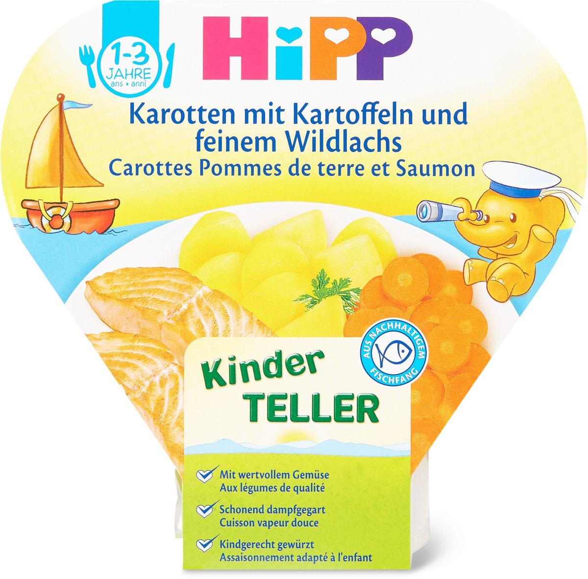 HiPP Kinderteller Karotten Kartoffeln Wildlachs