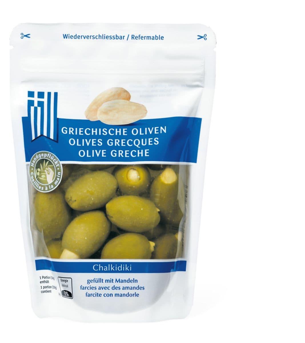 Griechische Oliven gefüllt mit Mandeln
