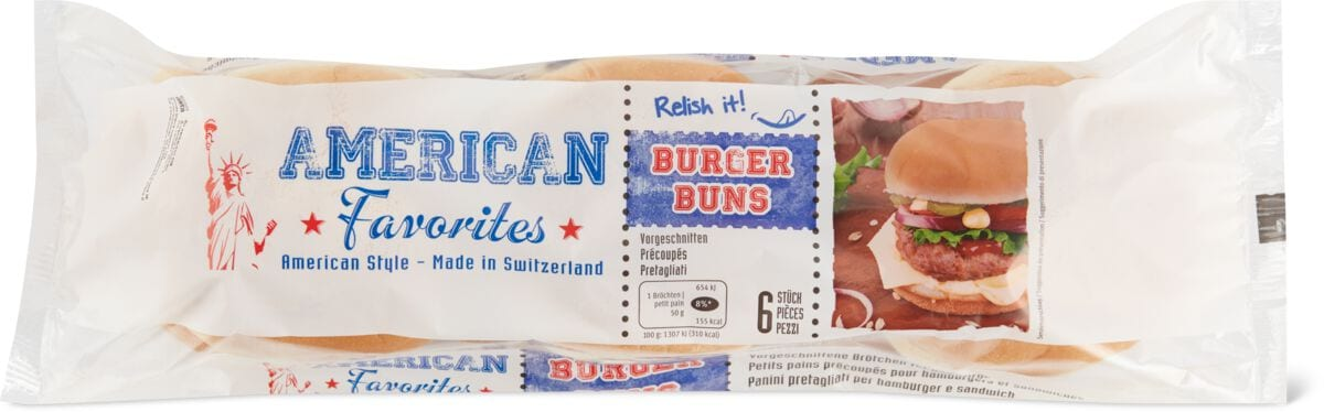 American Favorites Buns vorgeschnitten