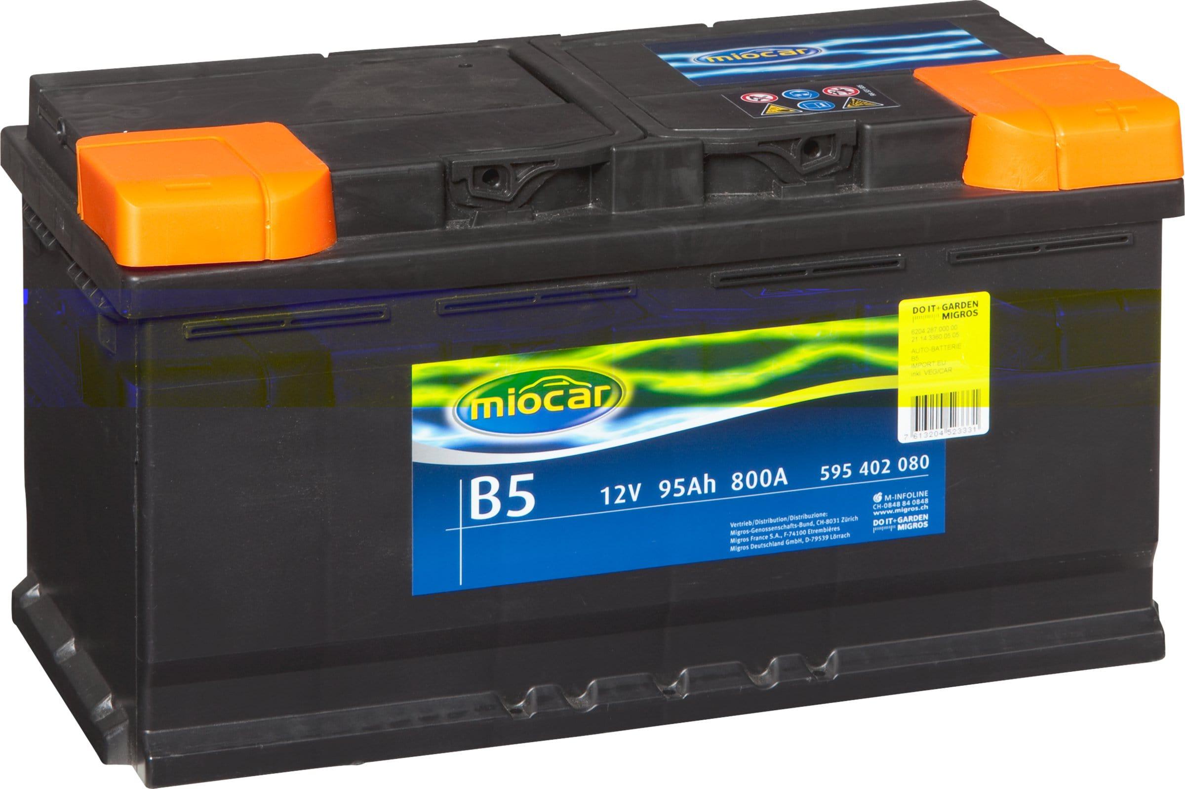 miocar batterie de voiture b5 12v 95ah 800a migros. Black Bedroom Furniture Sets. Home Design Ideas