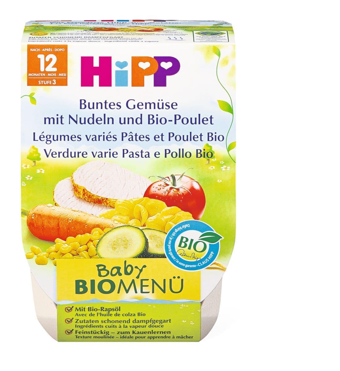 Bio HiPP Gemüse mit Nudeln und Poulet
