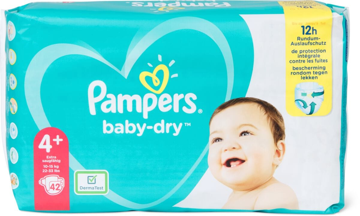 Pampers Baby Dry Gr. 4+, Maxi Plus 10-15kg