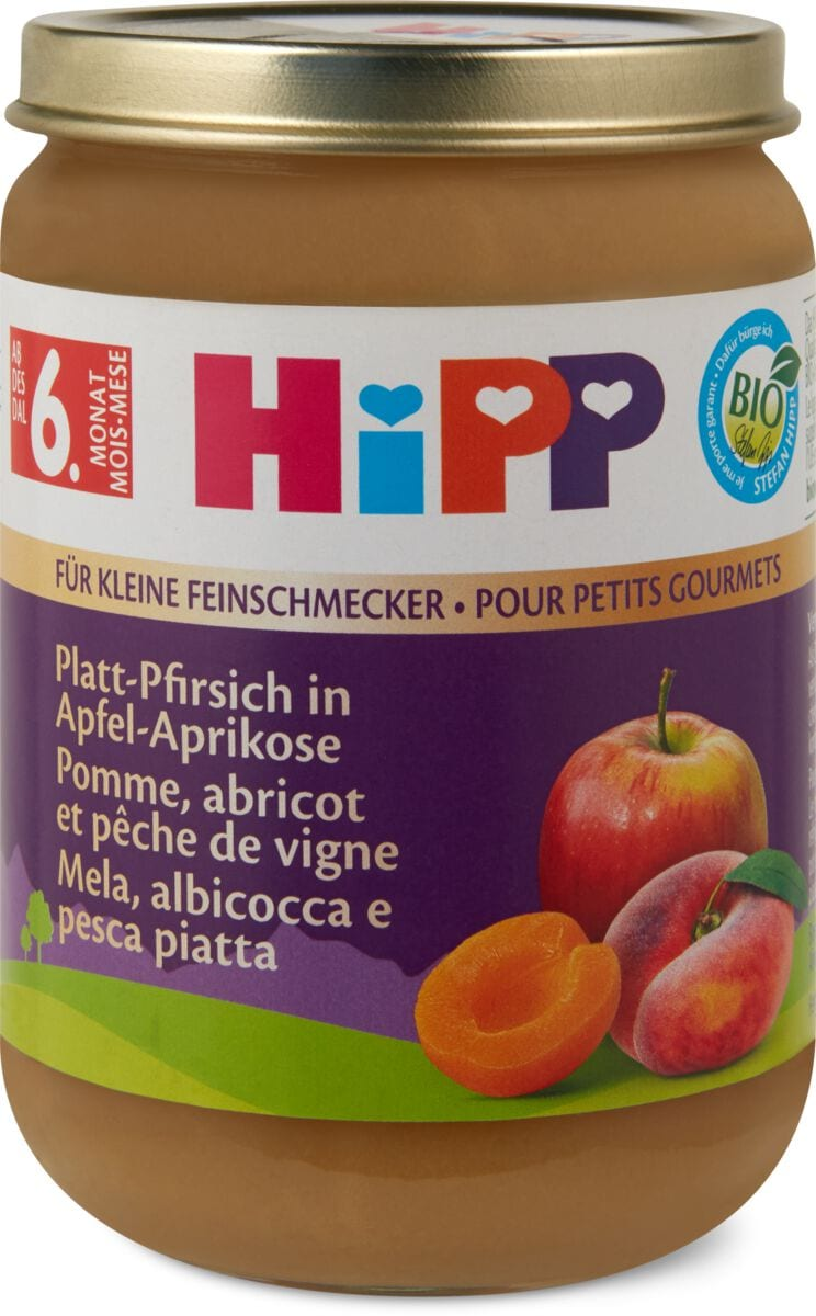 Hipp Platt-Pfirsich in Apfel Aprikose