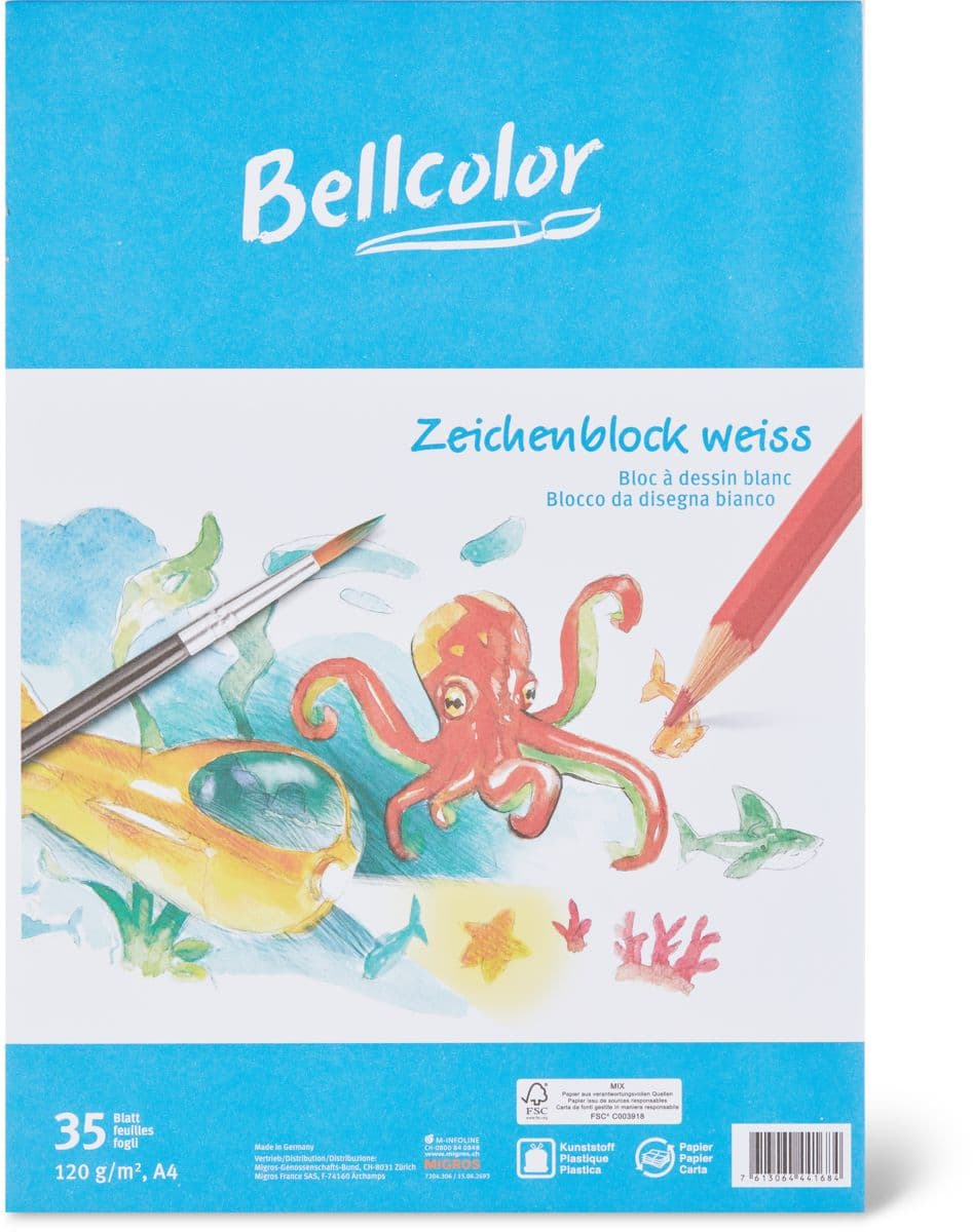 Bellcolor Zeichenblock weiss A4