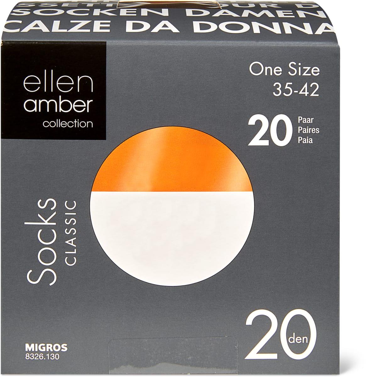Ellen Amber Damen-Feinsöckchen oder -Kniestrümpfe im 20er-Pack