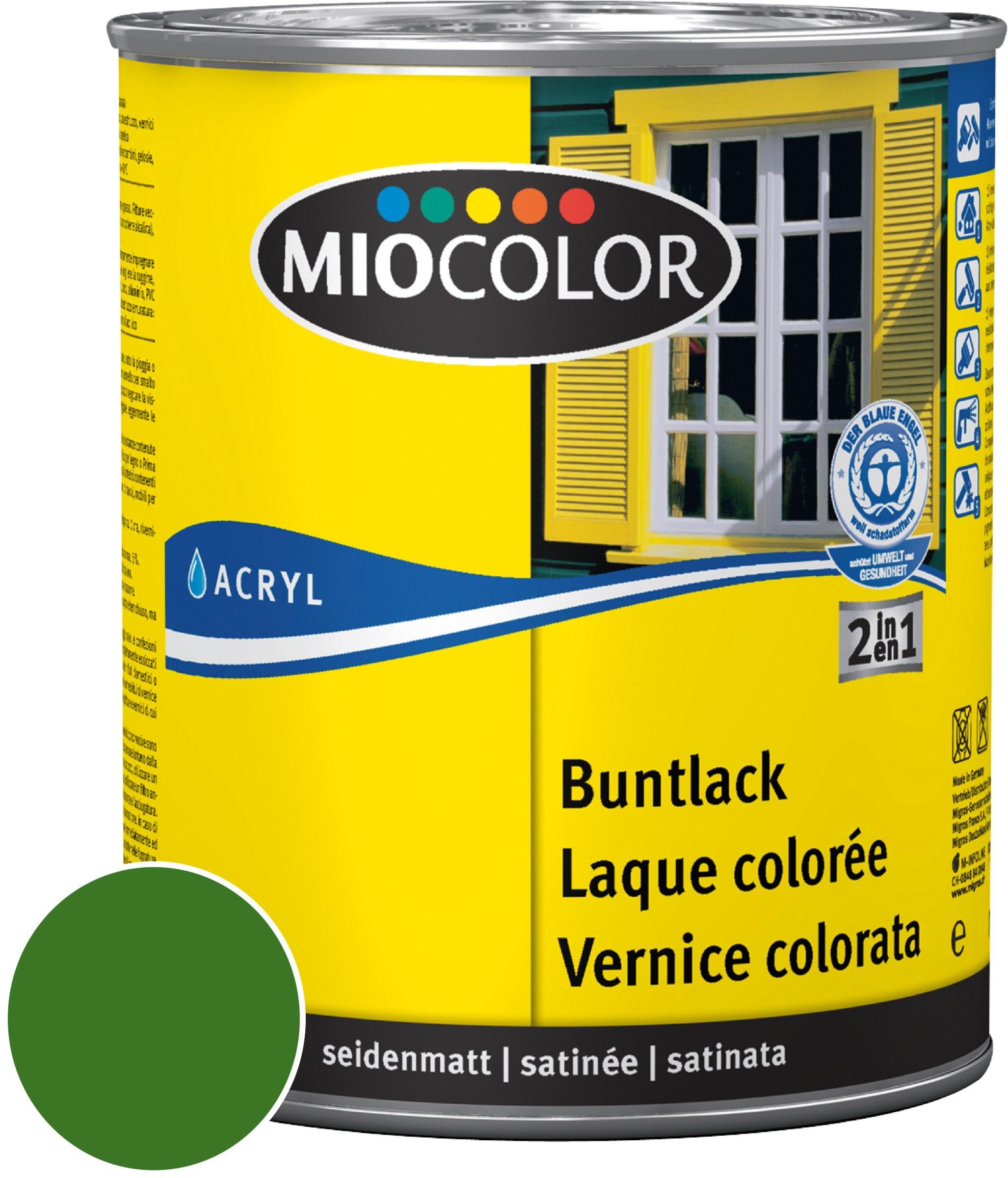 Miocolor Acryl Vernice colorata satinata Verde foglio 750 ml