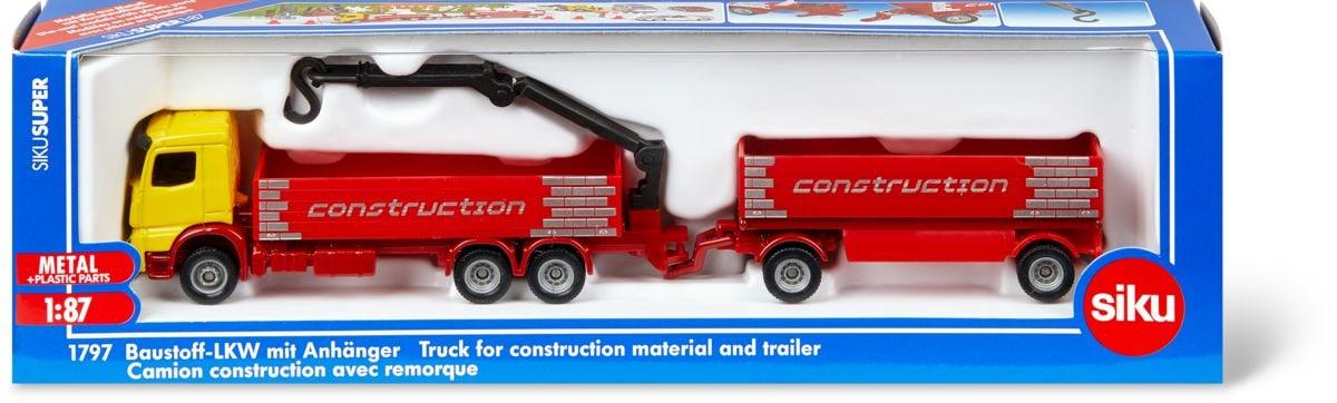 Siku Baustoff-LKW mit Anhänger Modellfahrzeug