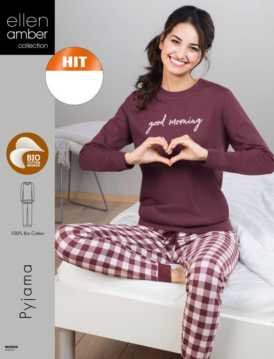 damen pyjama bordeaux