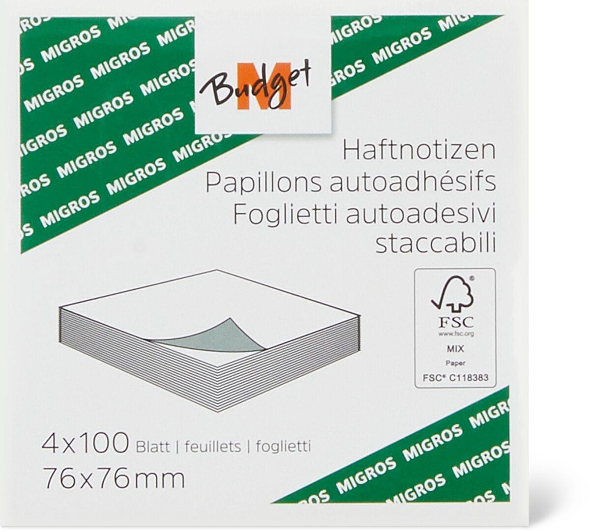 M-Budget Haftnotizen 7.6 x 7.6 cm FSC®