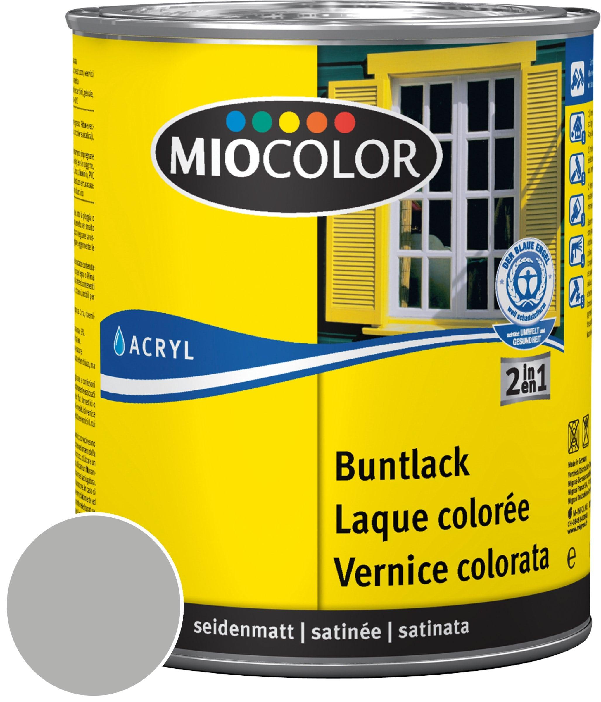 Miocolor Acryl Vernice colorata satinata Grigio Argento 125 ml