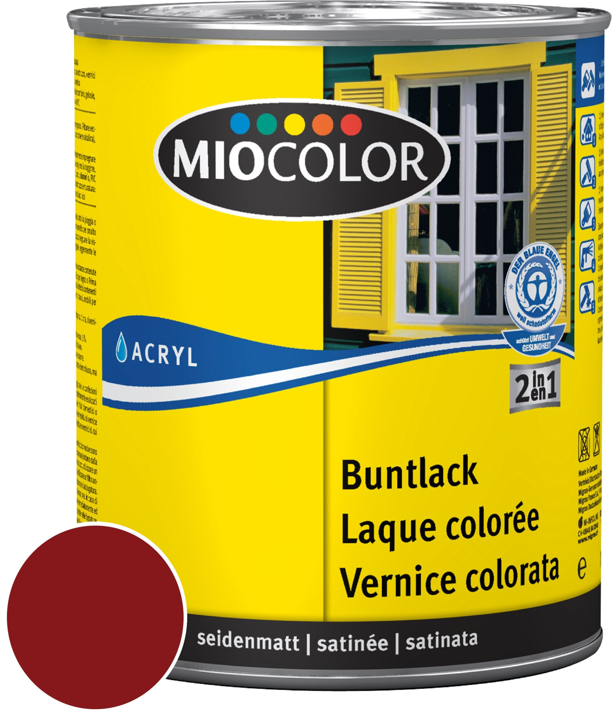 Miocolor Acryl Vernice colorata satinata Rosso vino 750 ml