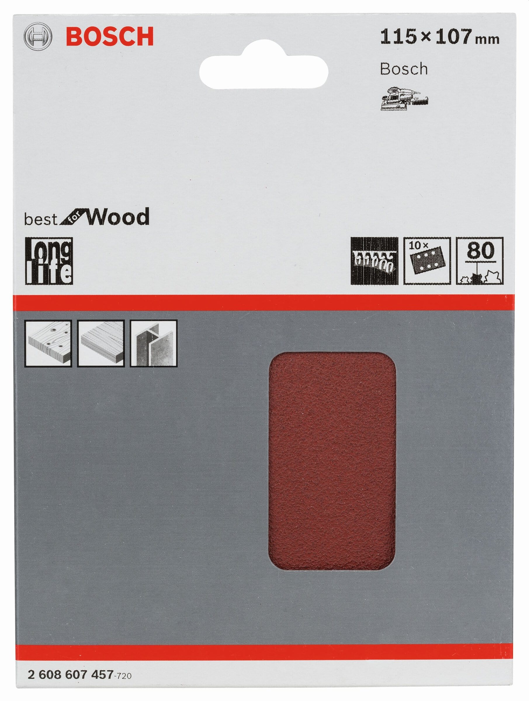 Bosch Professional Foglio abrasivo per GSS 18V 115x107mm K80