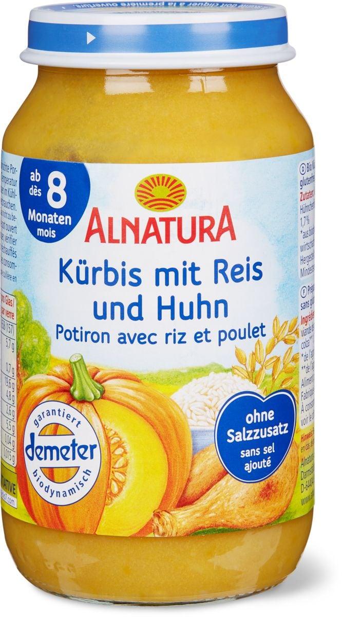Alnatura Kürbis mit Reis und Huhn