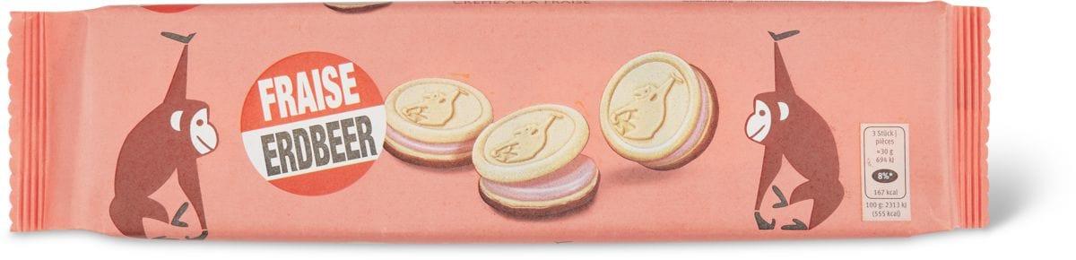 Biscuits fourrés à la crème fraise