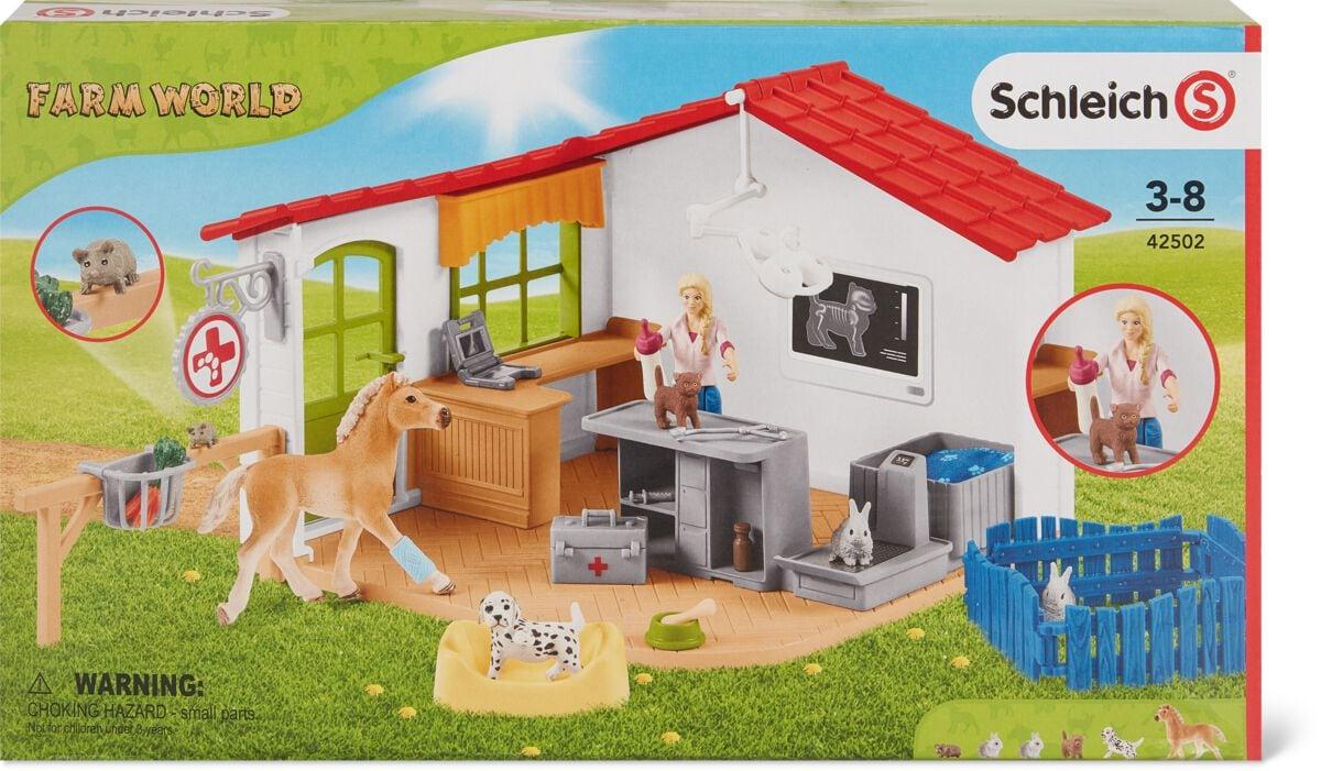 Schleich Tierarztpraxis mit Haustieren Spielset