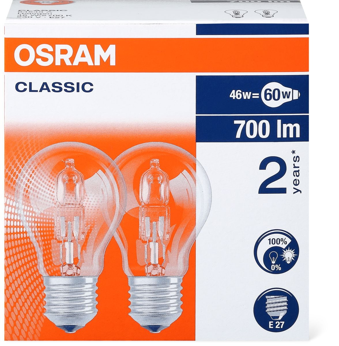 Osram Halogen CL A 46W E27 DUO