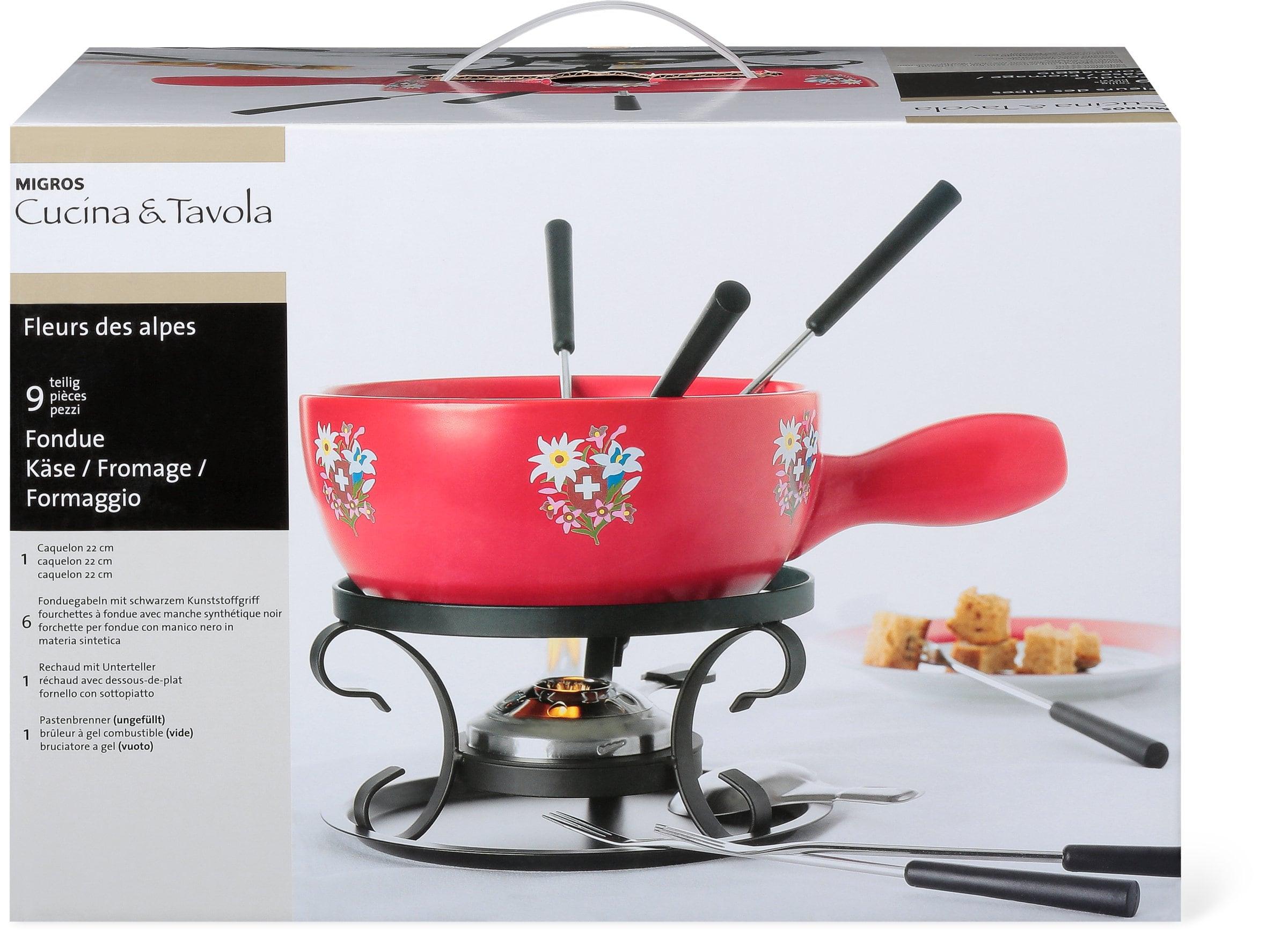 cucina tavola fleurs des alpes k se fondue set migros. Black Bedroom Furniture Sets. Home Design Ideas