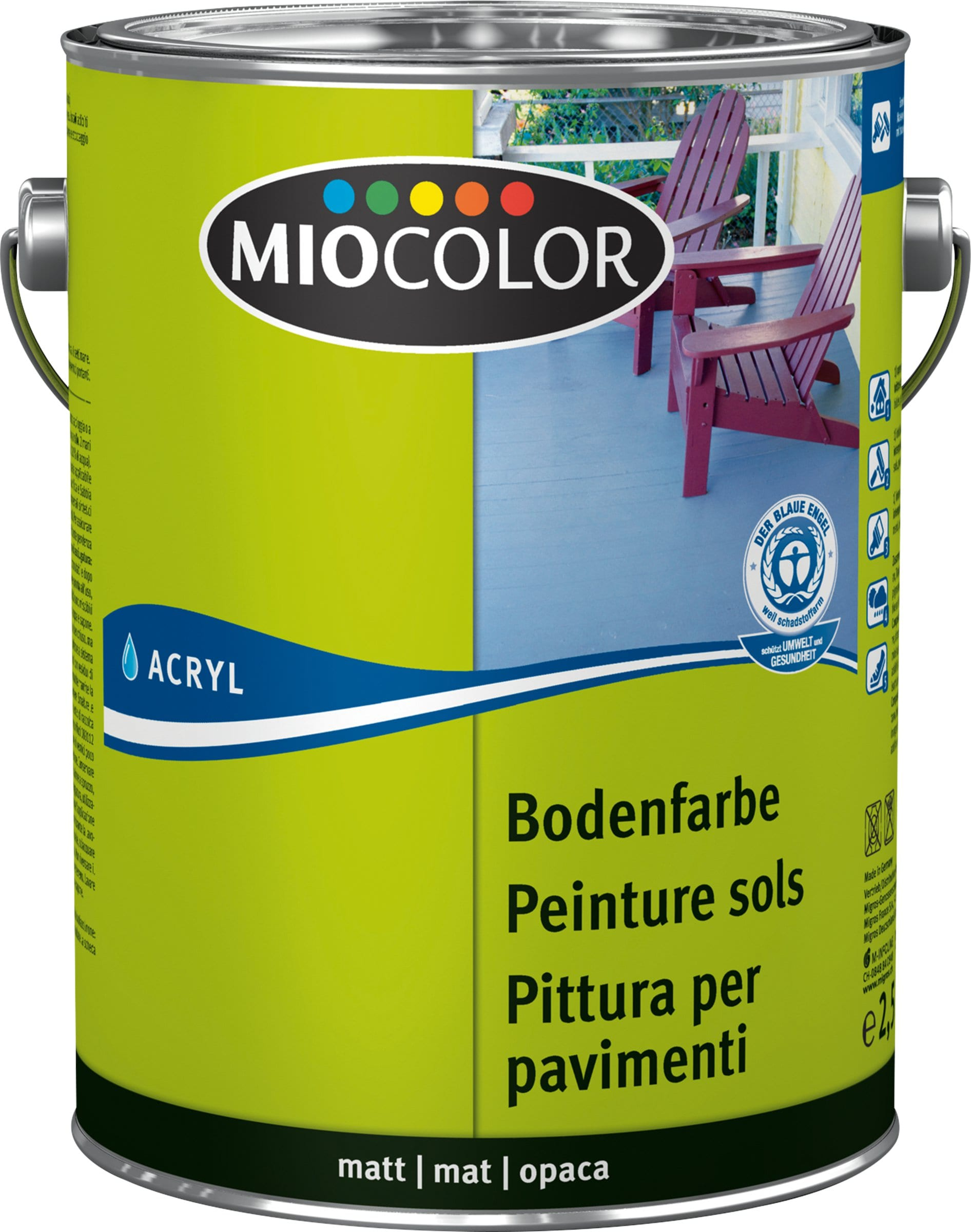 Miocolor Acryl Bodenfarbe Weiss 2.5 l
