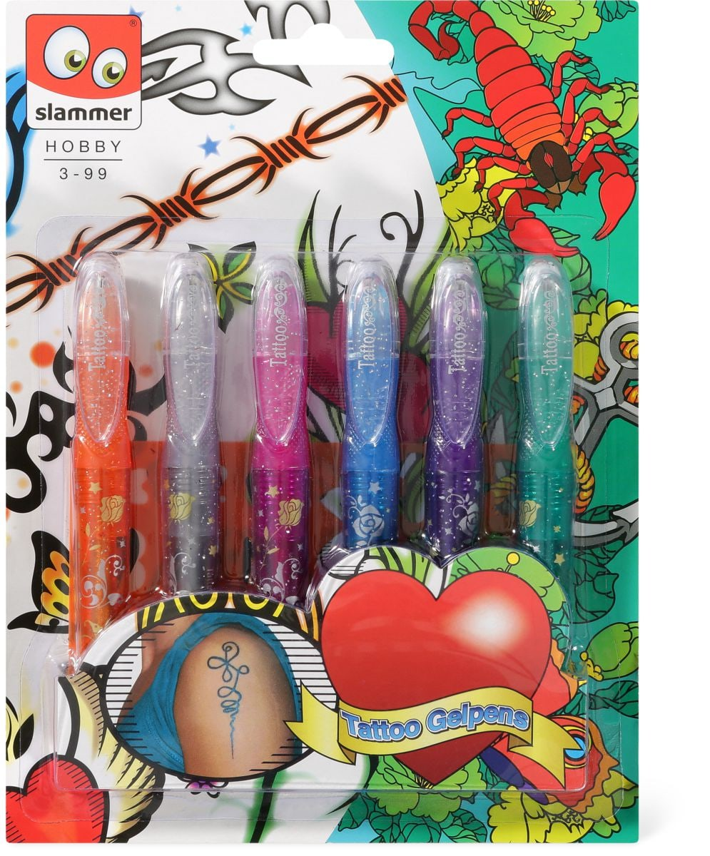 Tatoo gelpen 6 pcs. sur carte