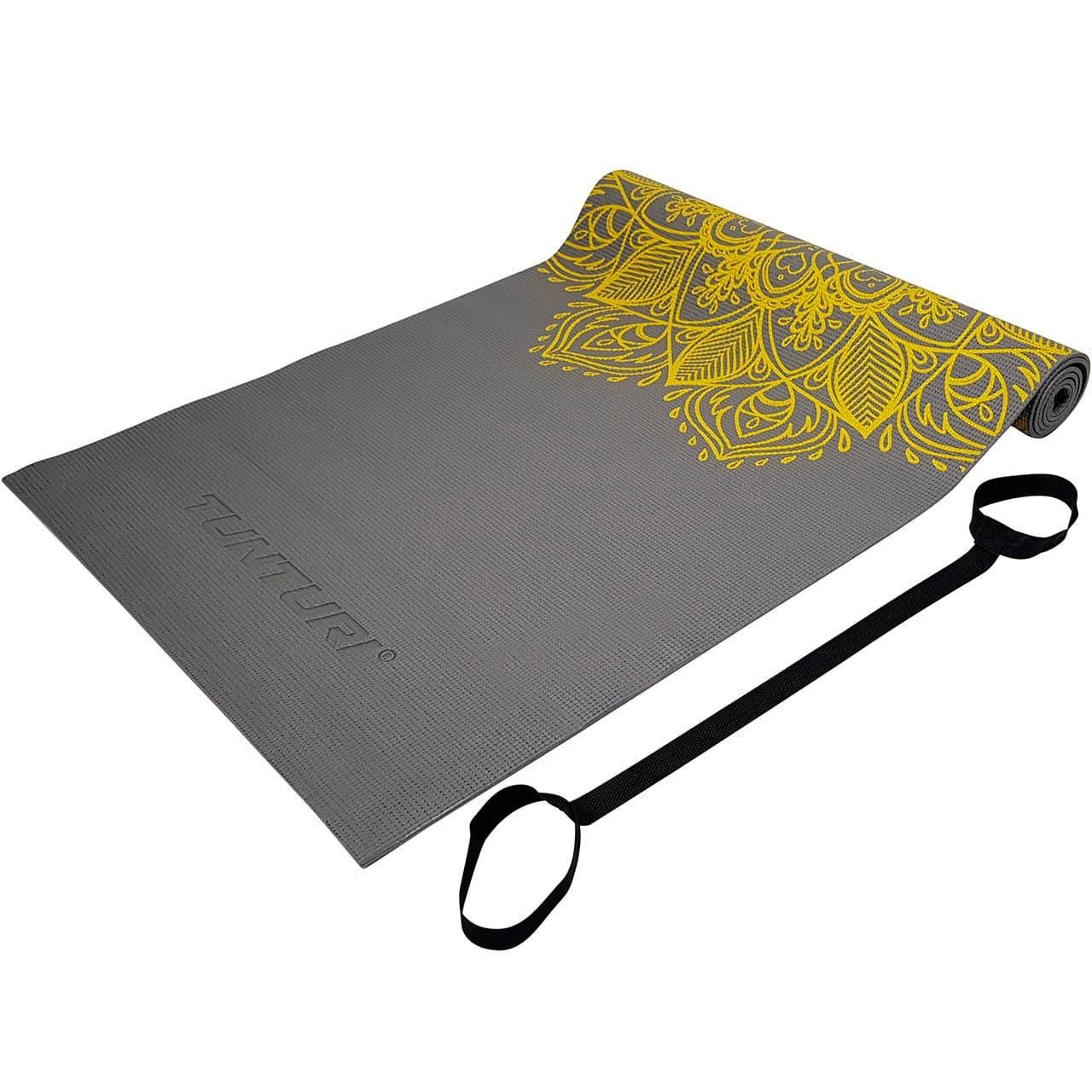Tunturi Tapis de yoga PVC antidérapant 4mm anthracite