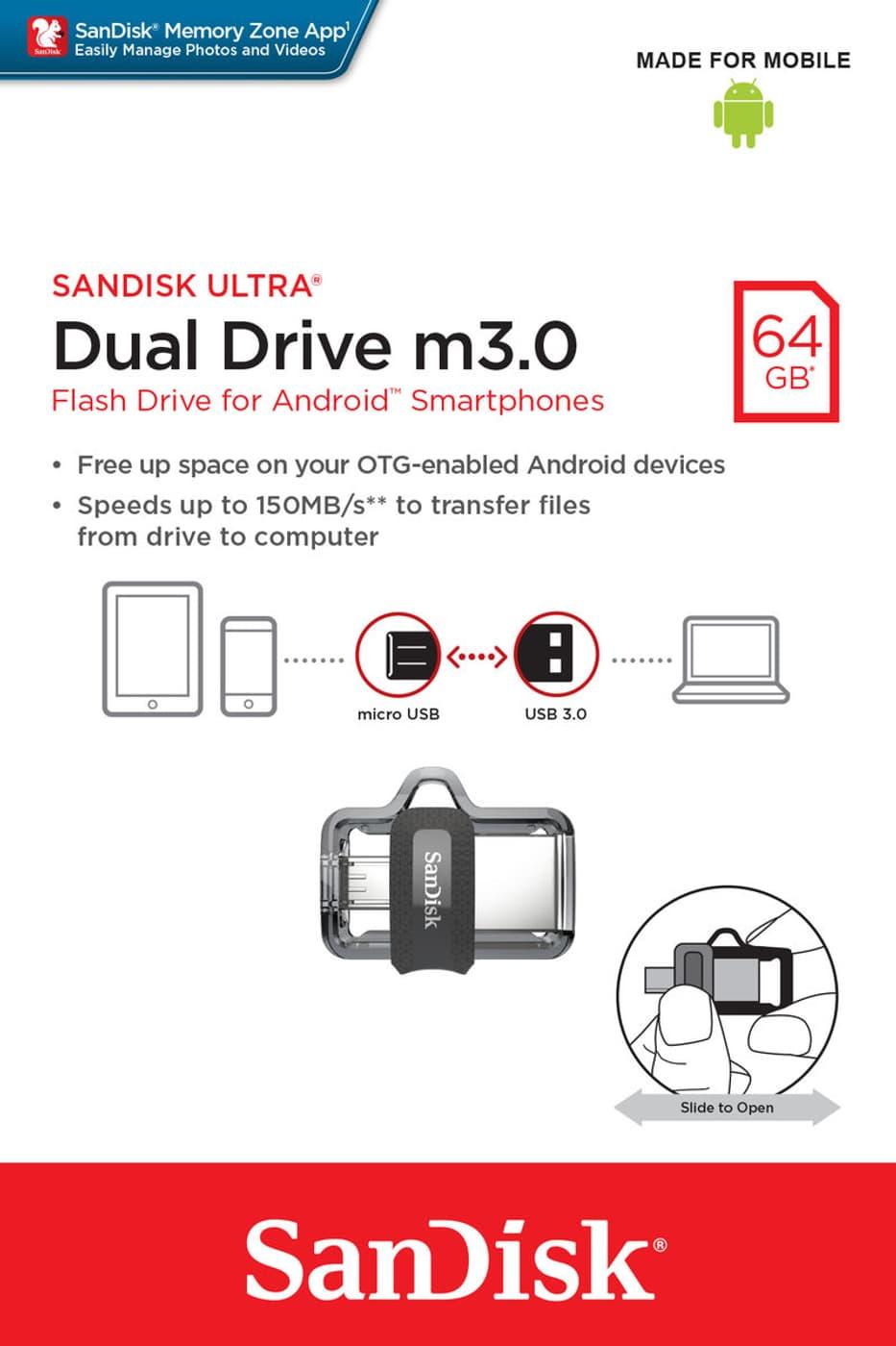 Sandisk Ultra Usb M30 Dual Drive 64gb 30 Migros Otg Flash New