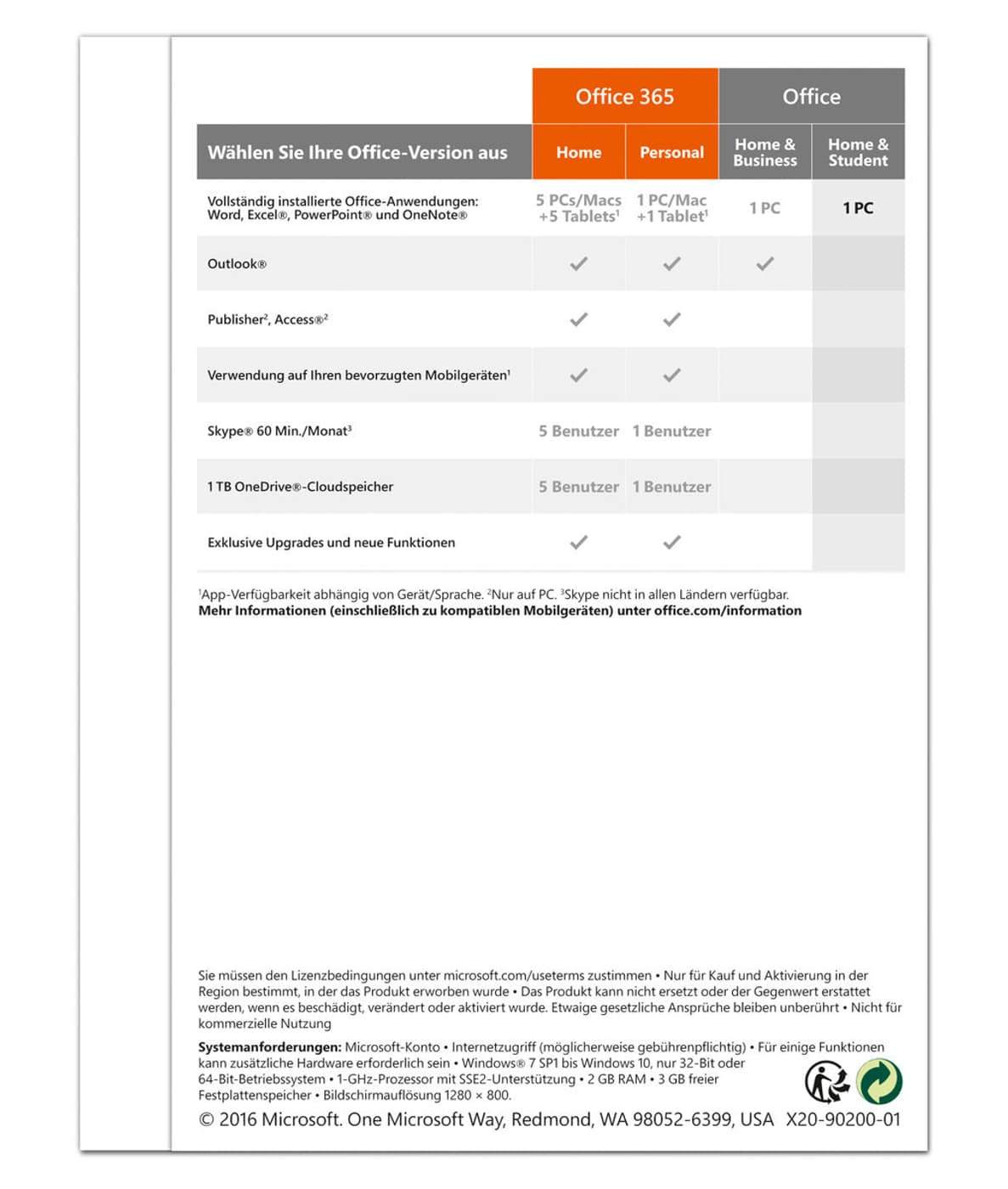 Microsoft office 2016 home and student vs business