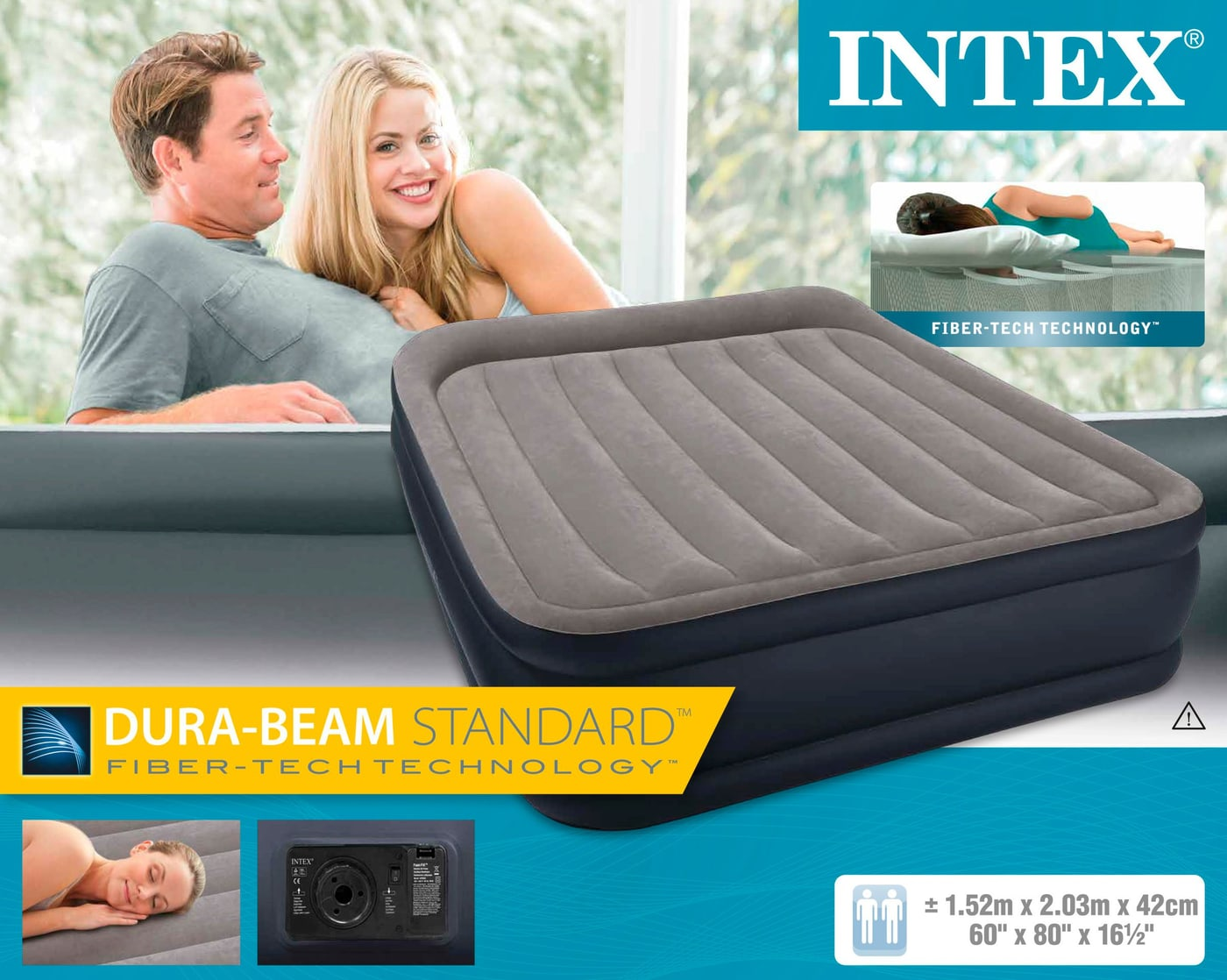 Intex queen deluxe pillow rest raised airbed letto gonfiabile migros