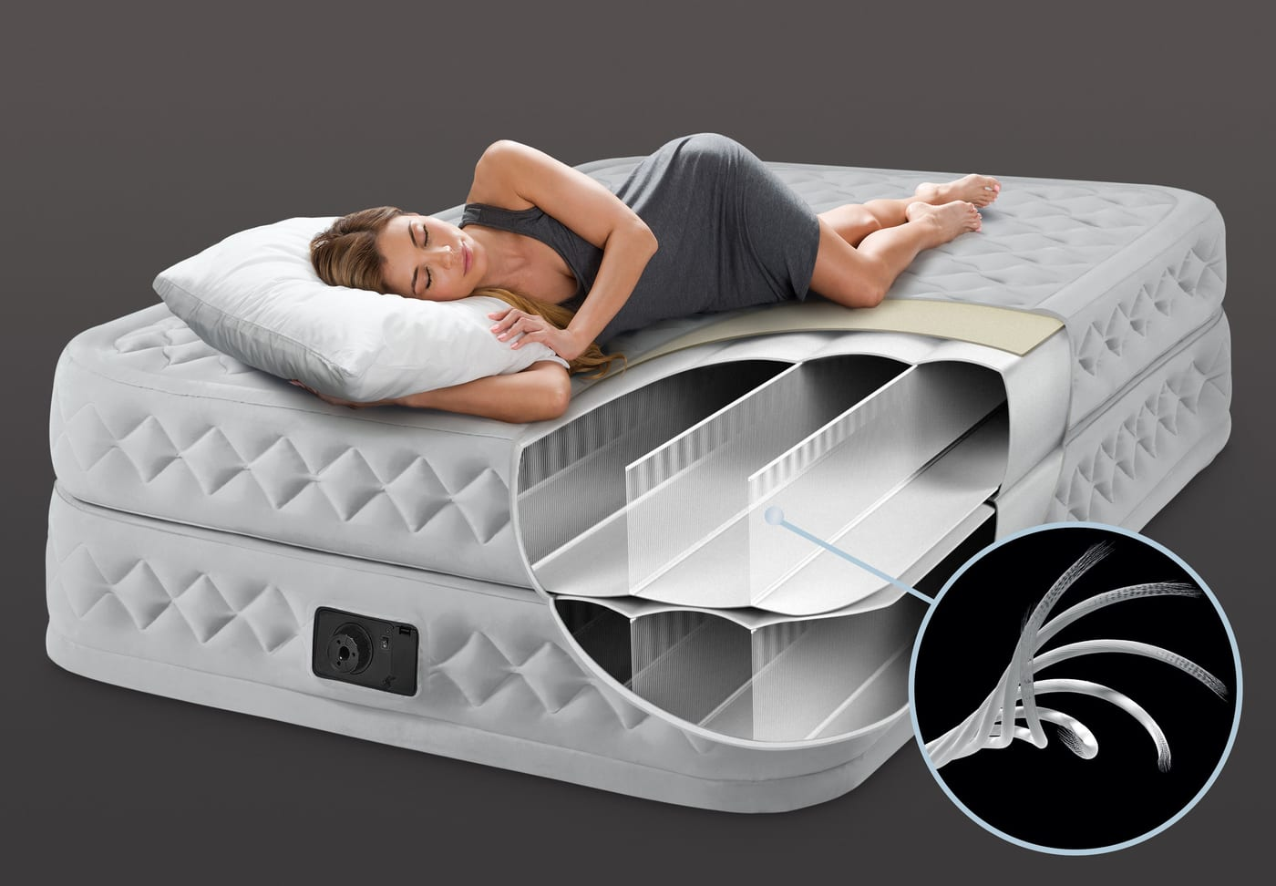 intex queen supreme air flow airbed lit gonflable migros. Black Bedroom Furniture Sets. Home Design Ideas