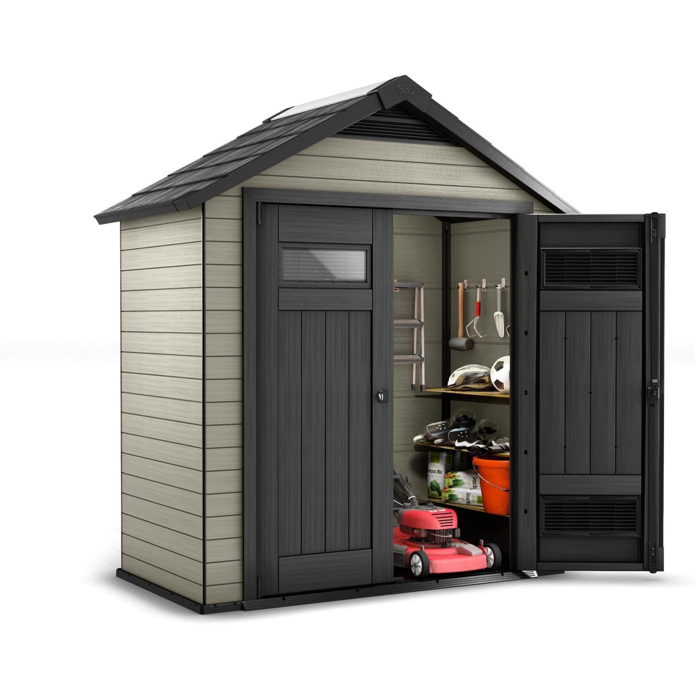 keter gartenhaus aus wpc 754 migros. Black Bedroom Furniture Sets. Home Design Ideas