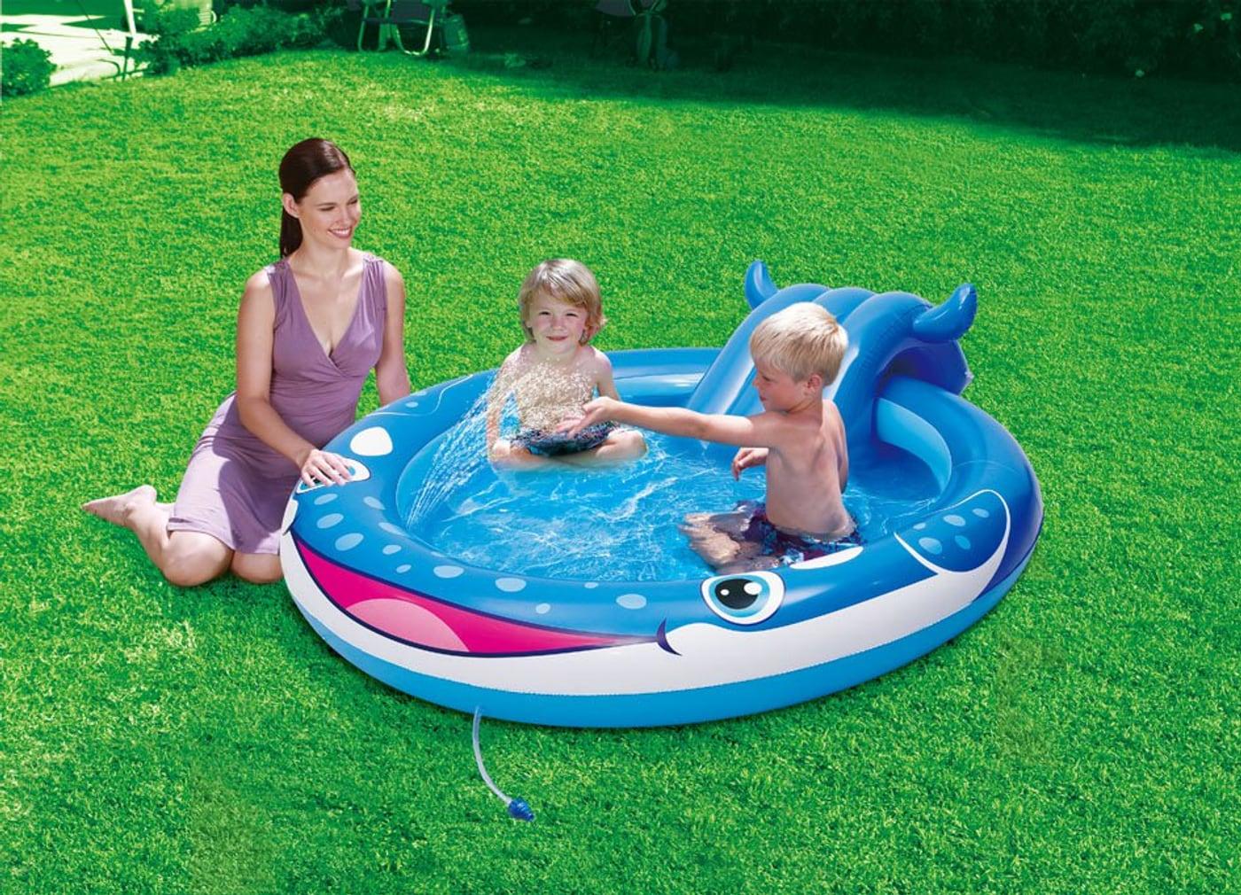 Summer waves piscine pour enfants baleine avec toboggan for Calcium plus pour piscine