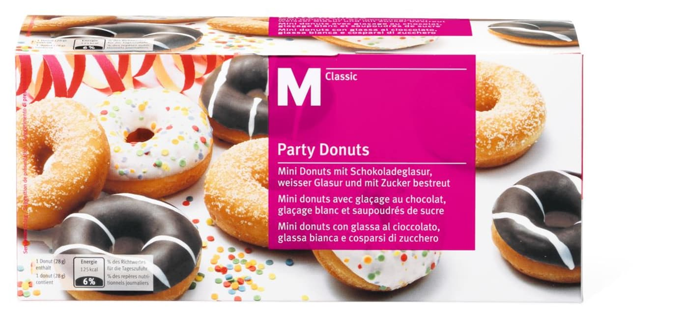 m classic party donuts migros. Black Bedroom Furniture Sets. Home Design Ideas