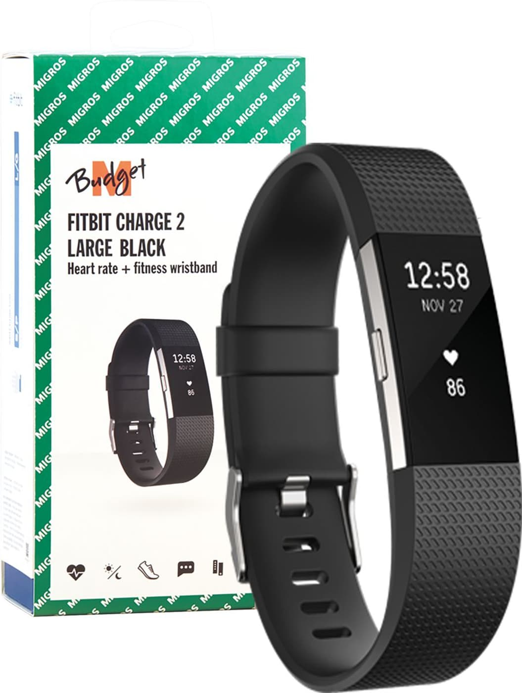M-Budget Fitbit Charge 2 Black Large Activity Tracker