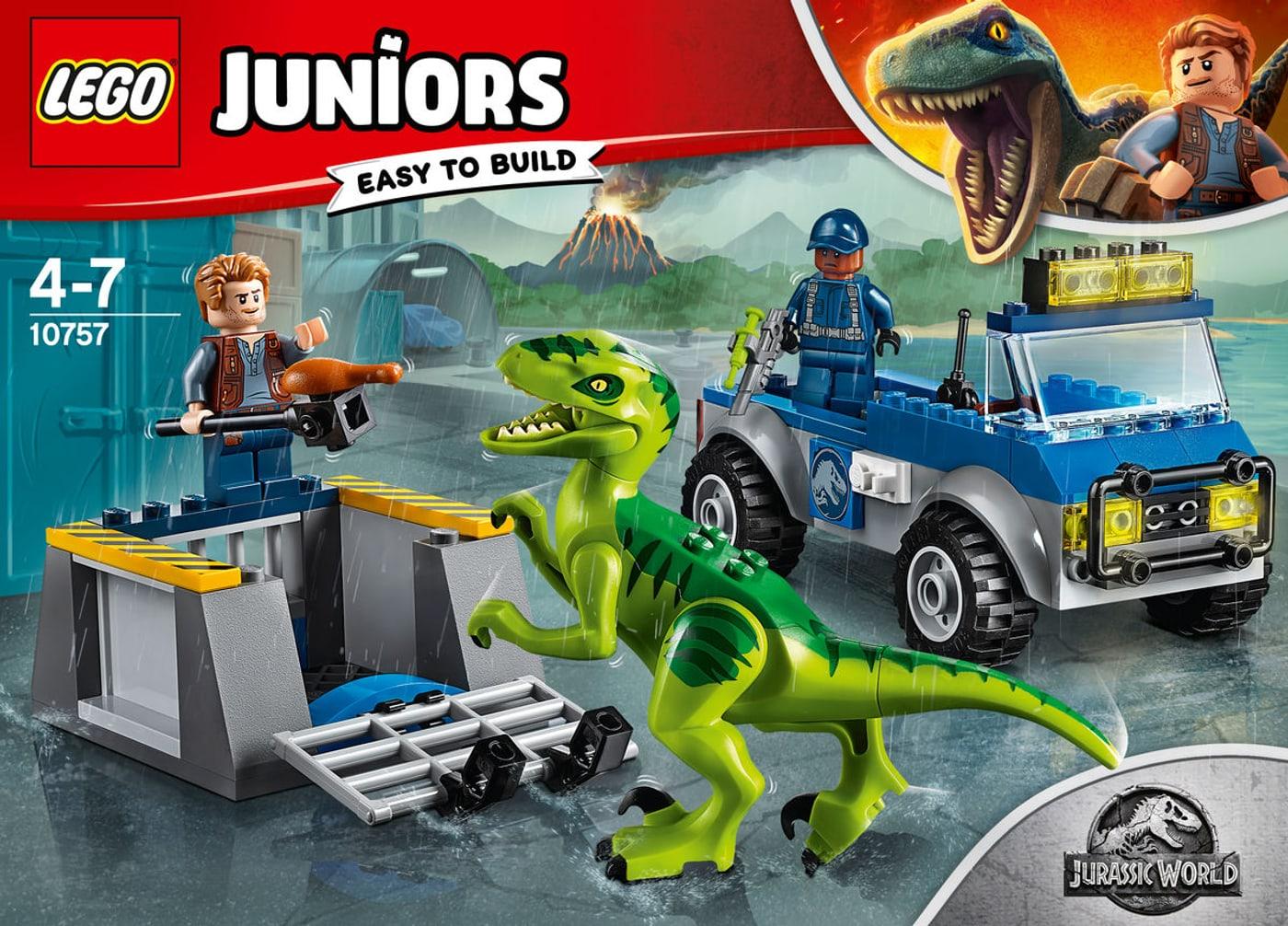 JUNIORS JURASSIC WORLD 10757 LEGO LE CAMION DE SECOURS DES RAPTORS