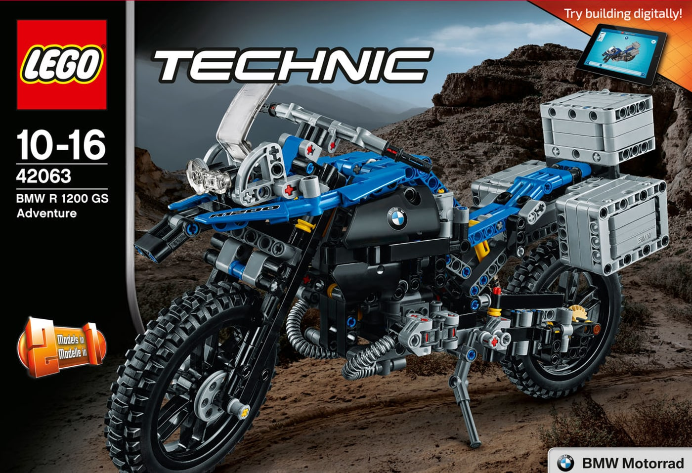 lego technic bmw r 1200 gs adventure 42063 migros. Black Bedroom Furniture Sets. Home Design Ideas