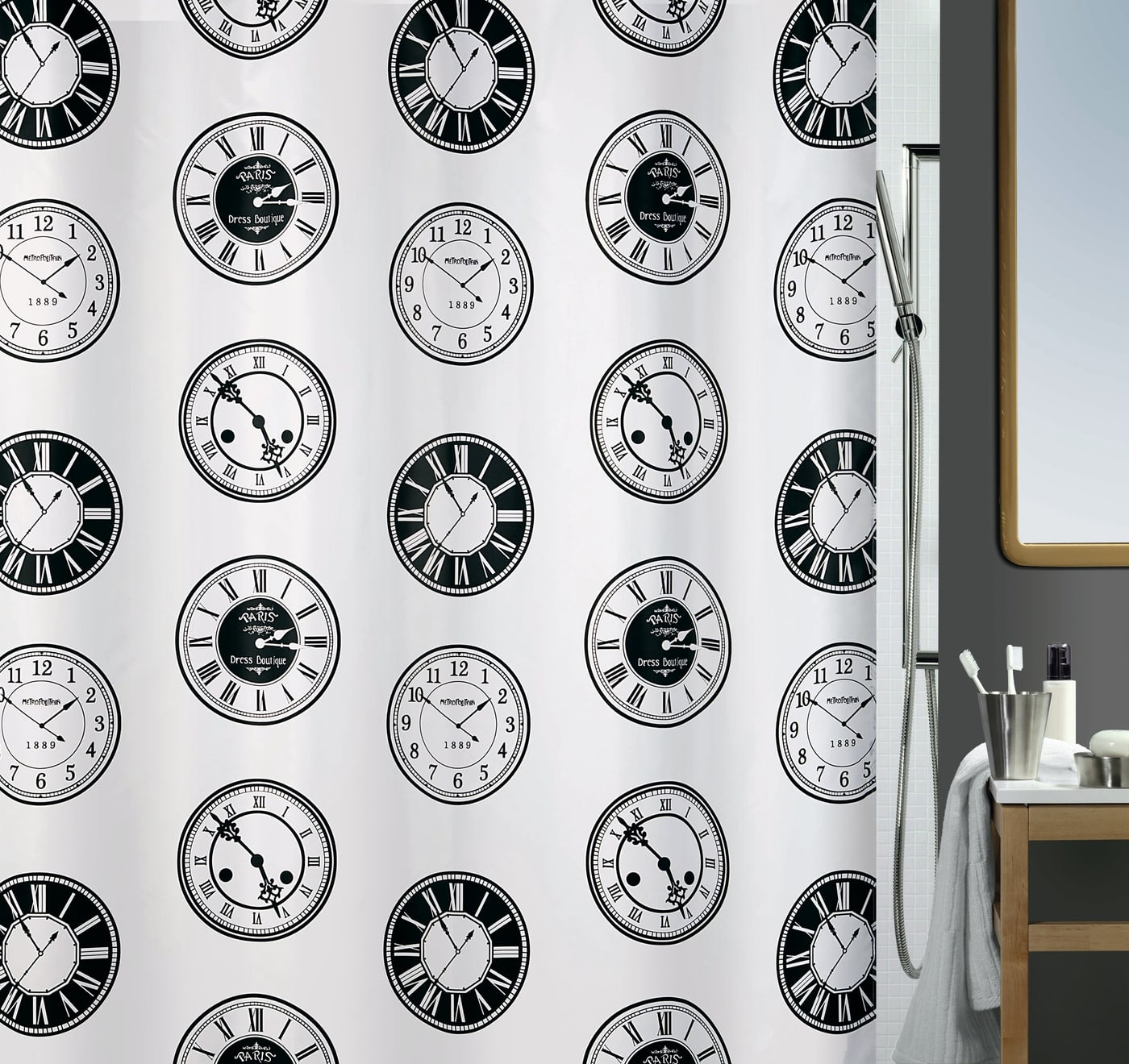 spirella duschvorhang time migros. Black Bedroom Furniture Sets. Home Design Ideas
