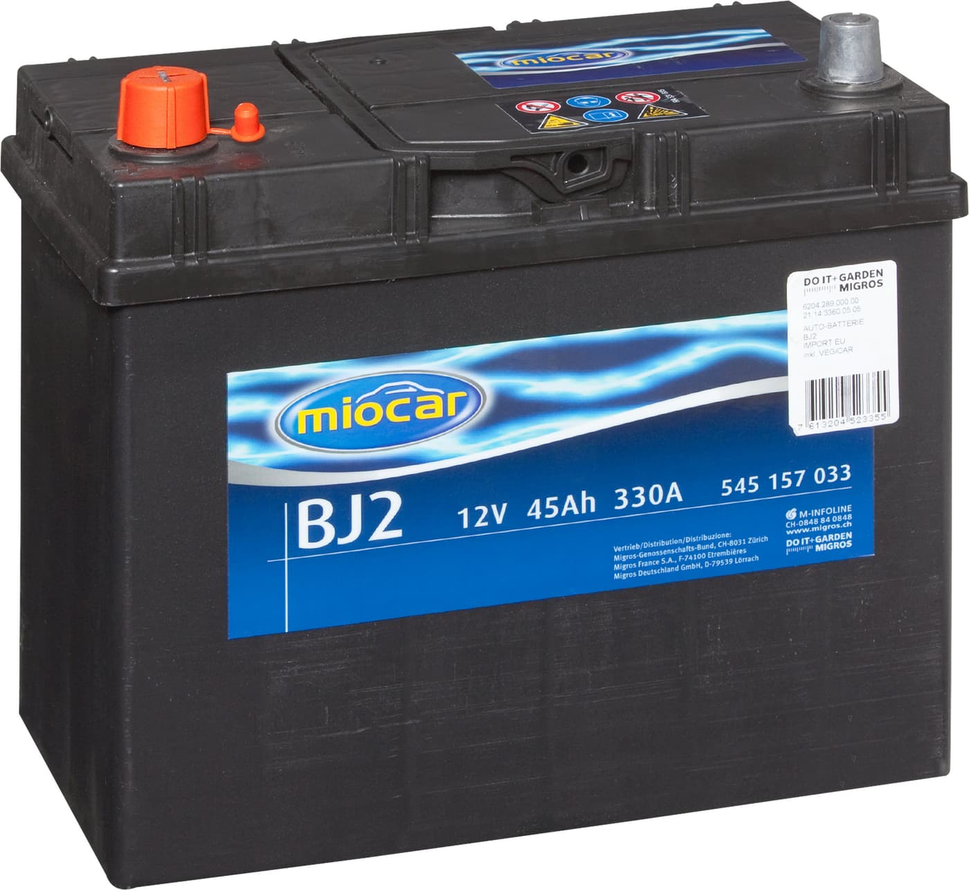 miocar autobatterie bj2 12v 45ah 330a migros. Black Bedroom Furniture Sets. Home Design Ideas