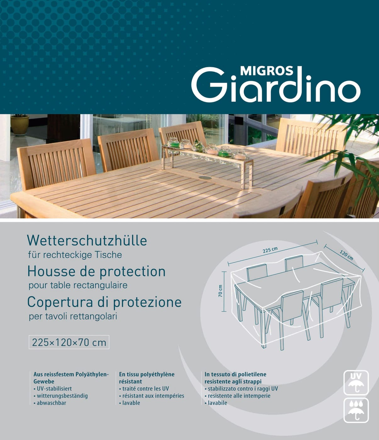 Housse de protection pour table rectangulaire migros - Housse de protection pour table de jardin rectangulaire ...