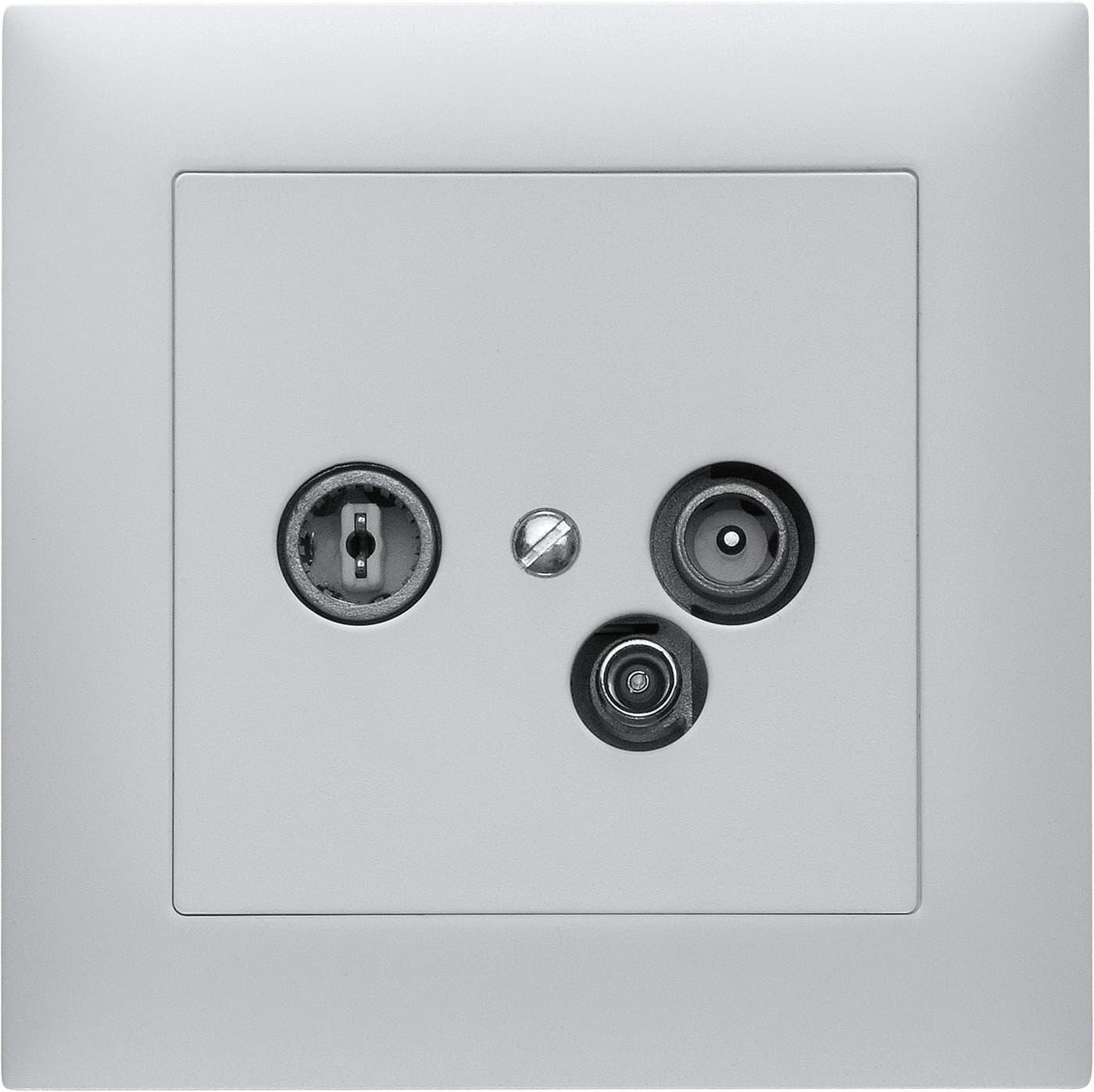 feller edizio due antennen steckdose radio tv daten migros. Black Bedroom Furniture Sets. Home Design Ideas