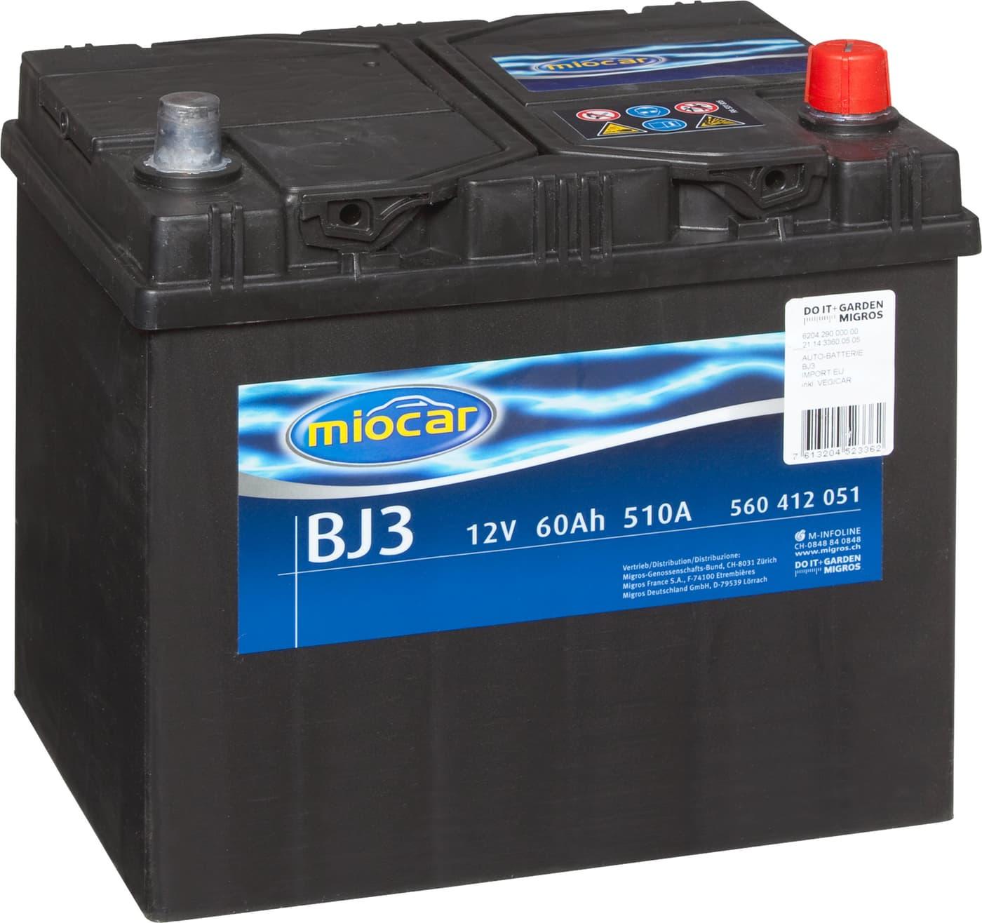 miocar autobatterie bj3 12v 60ah 510a migros. Black Bedroom Furniture Sets. Home Design Ideas
