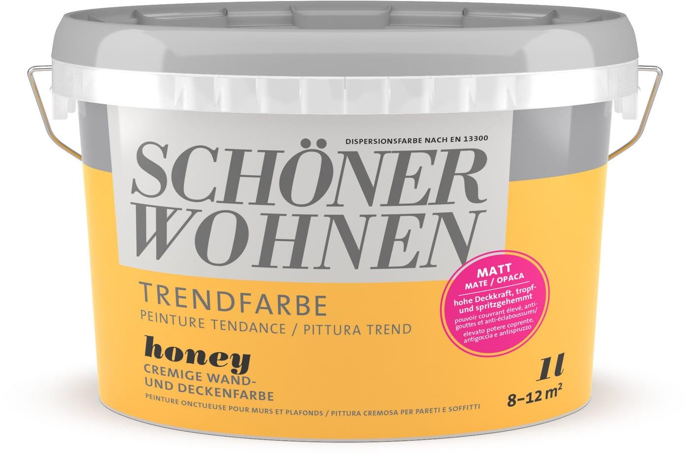 Schöner Wohnen Trend Wandfarbe matt Honey 1 l