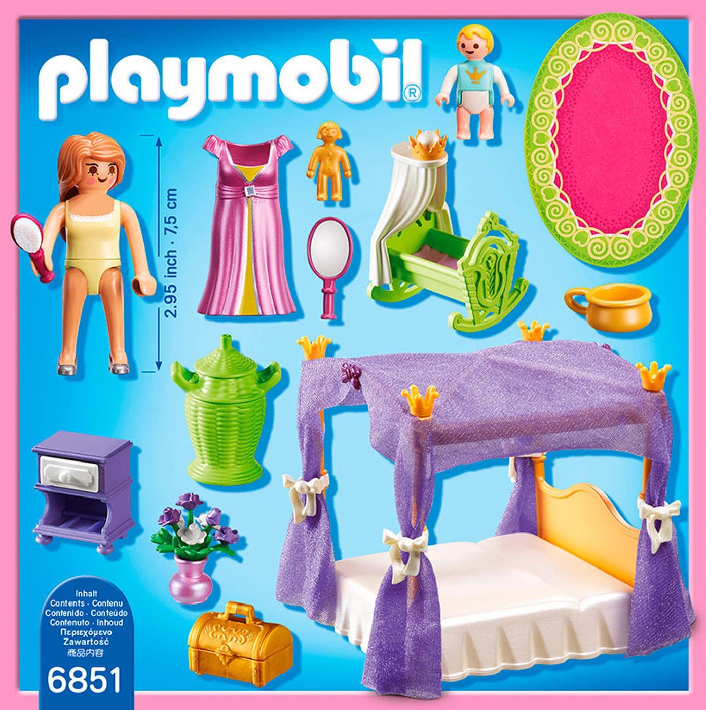 Playmobil Princess Chambre de la reine avec lit à baldaquin 6851 ...