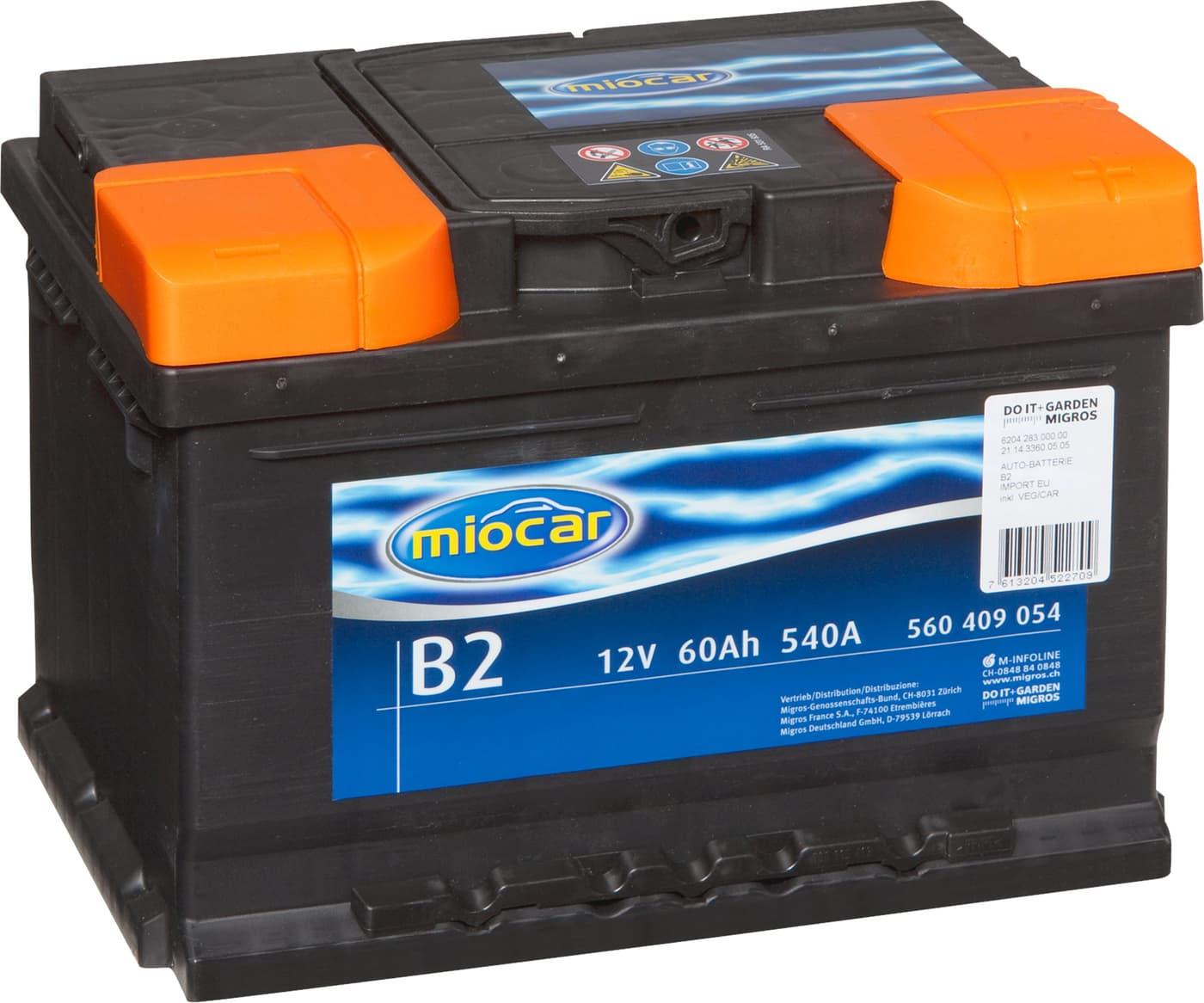 miocar autobatterie b2 12v 60ah 540a migros. Black Bedroom Furniture Sets. Home Design Ideas