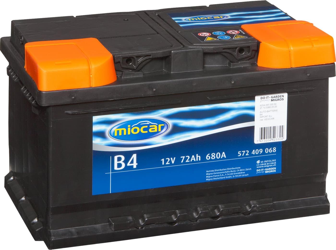 autobatterie b4 12v 72ah 680a migros. Black Bedroom Furniture Sets. Home Design Ideas