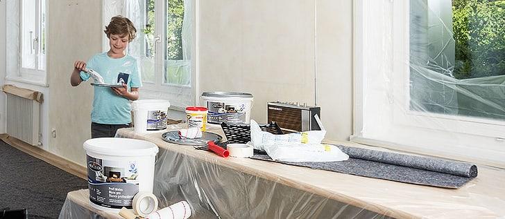 Peintures, laques, brosses et rouleaux à peinture