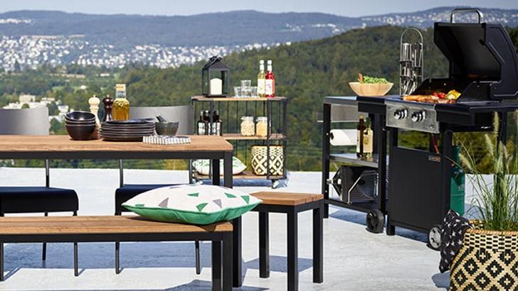 Grill auf der Terrasse